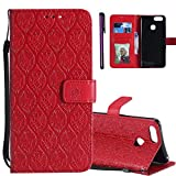 Huawei Mate SE Case Huawei Honor 7X Case ISADENSER Useful Wallet with Photo Frame Card Holder PU Leather [Kickstand] Folio Flip Magnetic Closure Protective Case Cover for Huawei Honor 7X Rattan Red