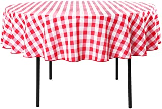 Waysle 70-Inch Round Tablecloth, 100% Polyester Washable Table Cloth for Circular Table, Red and White Checker