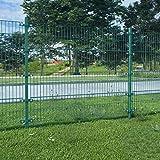 UnfadeMemory Valla Jardin Metalica con Postes,Panel de Valla para Jardin,Decoracion Jardin,Hierro Recubrimiento Polvo (6x1,6m, Verde)