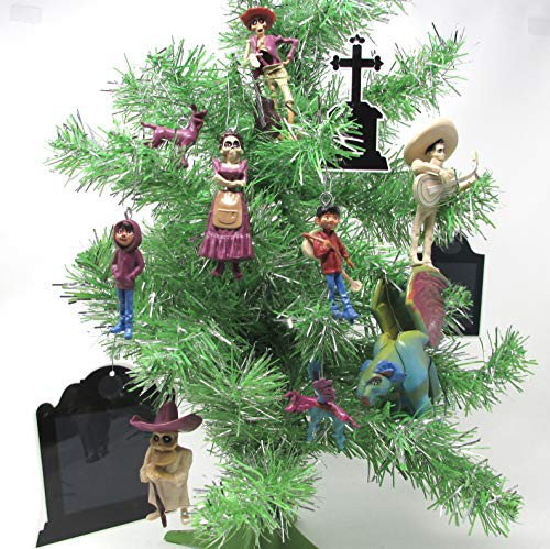 Coco 12 Piece Christmas Tree Ornament Set Featuring Grave Stones, Miguel, Héctor, Dante, Ernesto, Imelda, Pepita, and Chicharrón