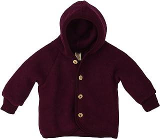 Ángel Baby Fleece-overall con capucha entre madera botones bio-lana virgen