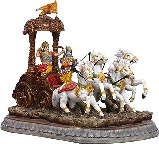 Sri Krishna Culture Polyresin Geeta Rath Showpiece 43 x 30 x 35 cm, wielokolorowa