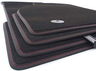 kh Teile Fussmatten (Velours), passend für A4/S4/RS4 (B6 B7), Premium Qualität Autoteppich, anthrazit, 4 teilig, Nubuk schwarz mit roter Ziernaht (S  Line Design)