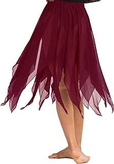 ranrann Women's Chiffon Hi-Low Fairy Fancy Dress Belly Dance Flowy Asymmetrical Wrap Skirts