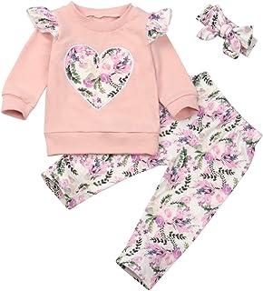 Hipea Toddler Baby Girls Clothes Set Long Sleeve Flower T-Shirt Top+Pants+Heandband 3pcs Kids Fall Outfits
