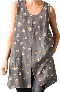 kolila Women's Blouse Sleeveless Tank Tops Print T Shirts Vest Blouse Casual Plus Size Tops Long Tunics for Leggings