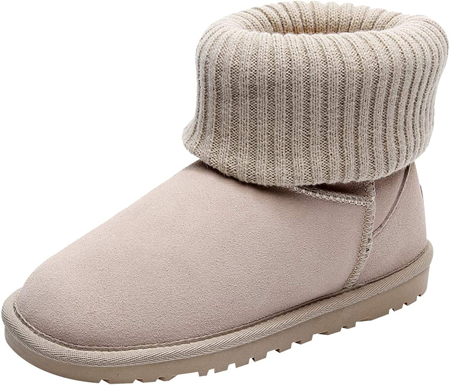 Rismart Girls' Kids' Ankle High Knitting Plush Lined Warmth Soft Snow Boots