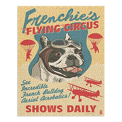French Bulldog, Retro Flying Circus Ad (1000 Piece Premium Puzzle, Made in USA)