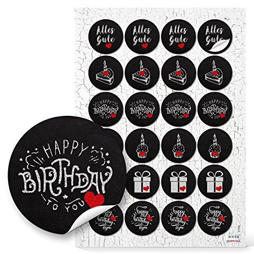 48 runde schwarz weiße Kreidetafel Aufkleber zum Geburtstag mit Herz rot Geschenk ALLES GUTE HAPPY BIRTHDAY Geschenkaufkleber Verpackung Verzierung Sticker Kinder Deko