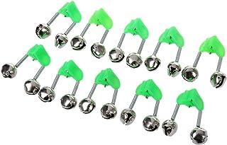 comprar comparacion 10 Pcs Green Spring Loaded Clip Double Fishing Rod Alarm Bells Silver Tone