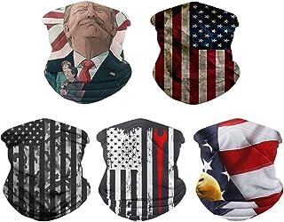 Rainlin 5 Pcs American Flag Outdoor Bandana- Multifunctional Microfiber American Flag UV Protection Face Neck Shields Head...