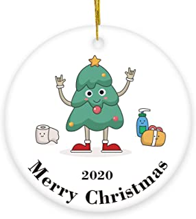 2020 Christmas Ceramic Ornaments -3'' Handmade Ceranic Ornament Two-Side Printed Christmas Tree and Toilet Paper, for Chri...