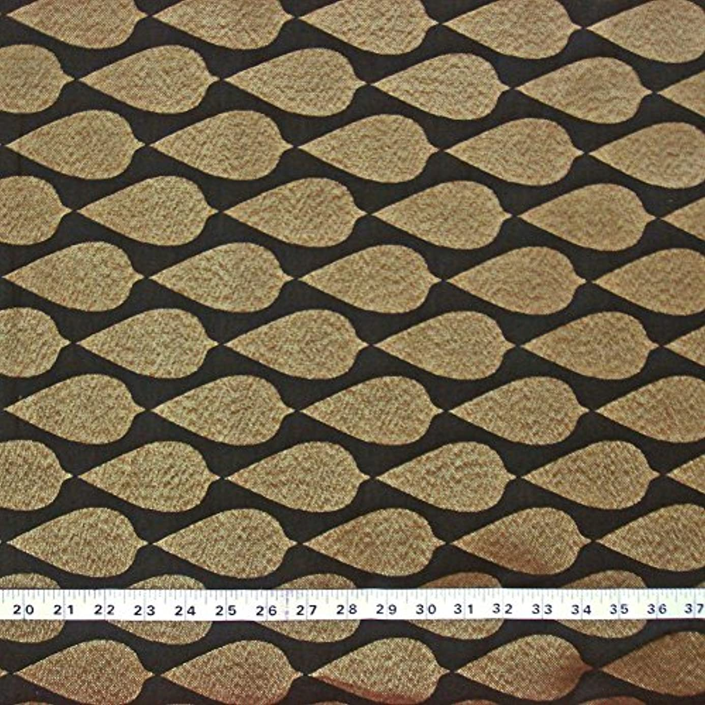 Black Decorative Brocade Fabric by The Yard, 44 Inches Gold Leaf Motif Graced Indian Fabric Dress Making Fabric oto3414022