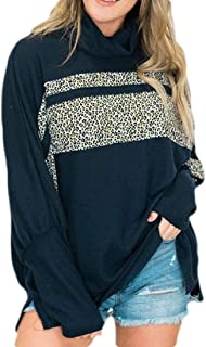 Macondoo Women Turtleneck Tops Long-Sleeve Oversized Color Block Stitching Sweatshirts