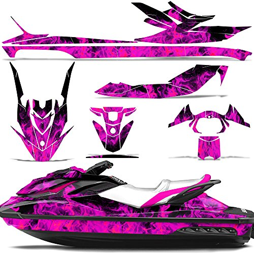 Wholesale Decals Jet Ski Graphics kit Sticker Decal Compatible with Sea-Doo GTI SE130 2011-2019 - Flames Pink
