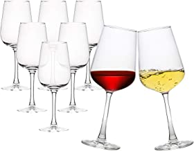 Set of 8 Wine Glasses, 12 Oz Durable Glassware, Lead Free Wine Stemware, Clear Wine Cups for Red and White Wine & Bordeaux