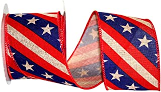 Patriotic Tea Stained Wired Ribbon - 2 1/2