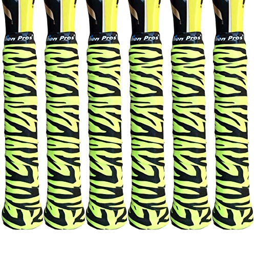Alien Pros X-Tac Tennis-Griffband, perfekt für Ihren Tennisschläger, Racquetball-Griff, Squashschläger und mehr (Tiger Skin Neon-Gelb, 6er-Pack)