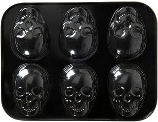 Nordic Ware Skull Halloween Cakelet Pan, Steel Non-Stick, Black, 13.8