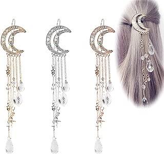 Numblartd 3 Pcs Vintage Crystal Rhinestone Moon Tassel Drop Star Hair Clip Bobby Pins - Fashion Bridal Jewelry Hairpin Hair Accessories for Women Lady