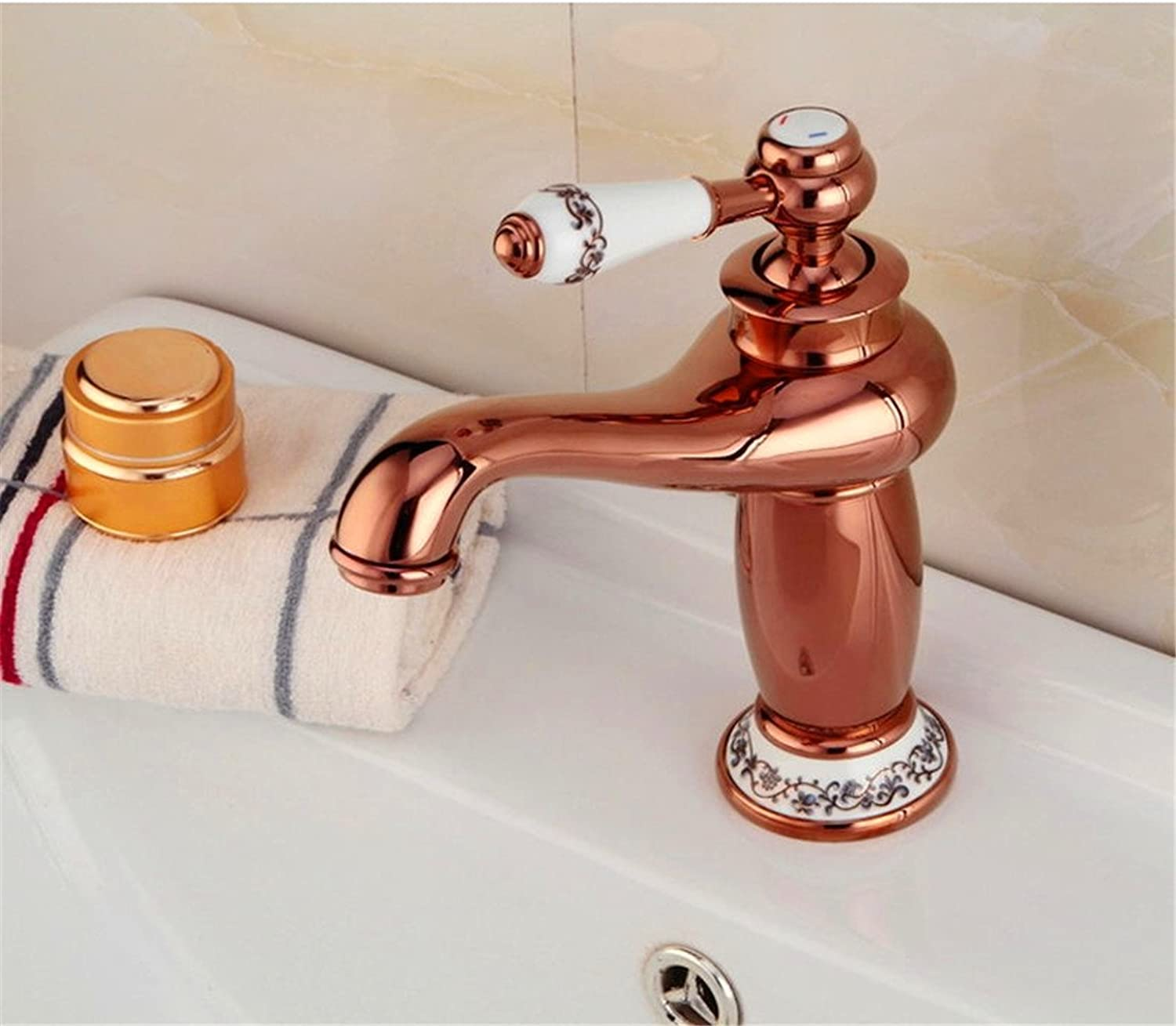 Hlluya Professional Sink Mixer Tap Kitchen Faucet gold-plated faucets full copper bluee-and-gold bathroom faucet porcelain hot and cold basin basin mixer redation 3B