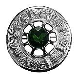 Spilla scozzese Kilt Fly Plaid Pietra Verde Argento Finitura/Signore Fusciacca Spille Emblema Cardo