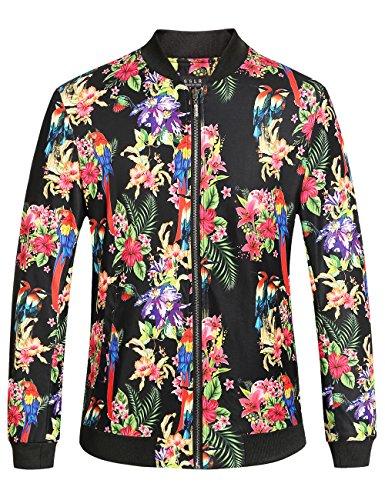 SSLR Men's Stylish Casual Hawaiian Floral Bomber Jacket (Medium, Black)