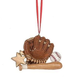 Baseball Mitt Bat 4 x 3 Inch Resin Christmas Ornament Figurine