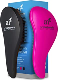 ArtNaturals Detangling Hair Brush Set - (2 Piece Gift Set - Pink & Black) - Comb for Adults and Kids - Wet & Dry Hair – Removes Knots and Tangles – Pain Free