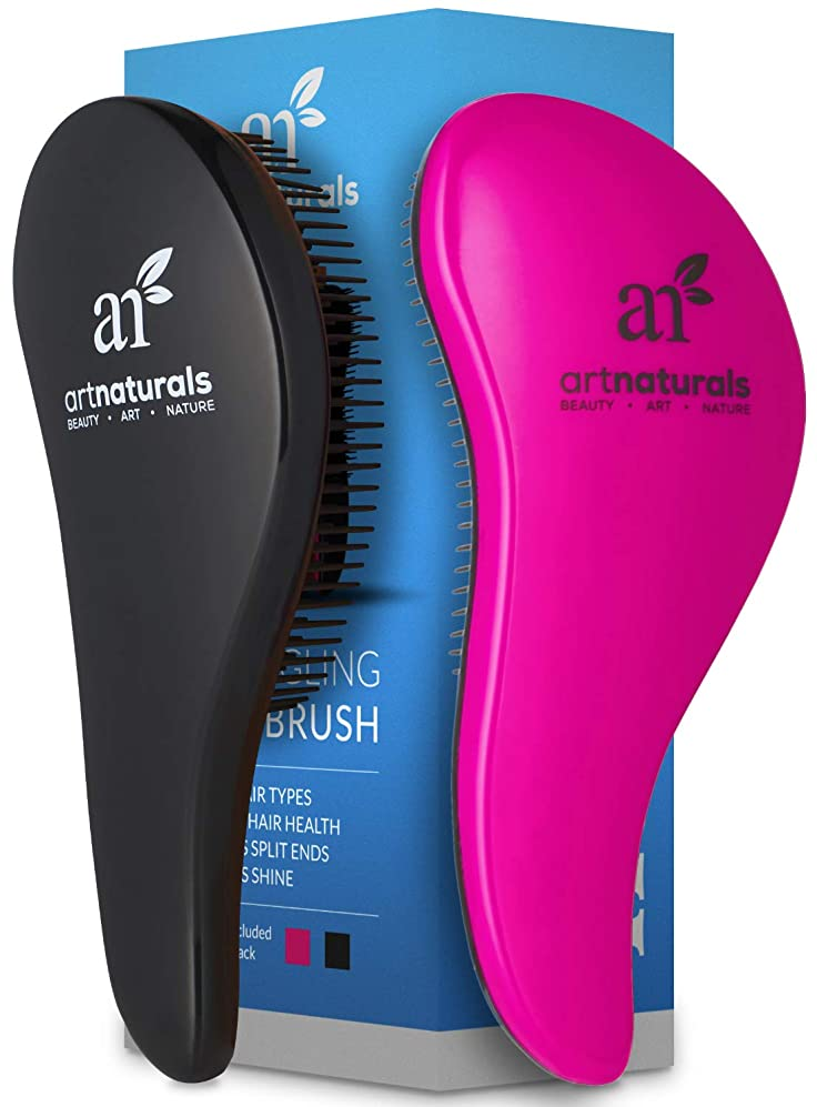 ArtNaturals Detangling Hair Brush Set - (2 Piece Gift Set - Pink & Black) - Detangler Comb for Women, Men and Kids - Wet & Dry – Removes Knots and Tangles, Best for Thick and Curly Hair – Pain Free vswzbxjryur8378
