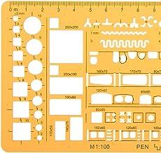 TuToy 1: 100 1: 200 Combo Met Dubbele Schaal Architectuur Bouwbekisting Tekensjabloon Kt Soft Ruler Stencil