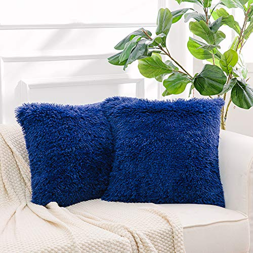 """NordECO HOME Luxury Soft Fur Cushion Cover Pillowcase Decorative Dyed Throw Pillows Covers, No Pillow Insert, 16"""" x 16"""" Inch, Sapphire Blue, 2 Pack"""