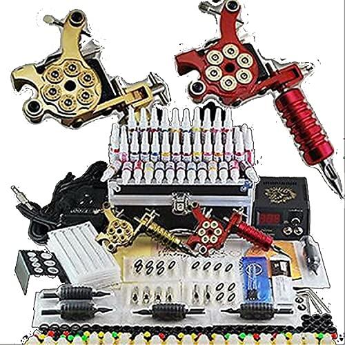 Kit completo de tatuaje profesional, 2 máquinas de tatuaje rotativas con fuente de alimentación y 40 agujas de colores, máquina de tatuaje estéril, juego completo con agujas de tatuaje