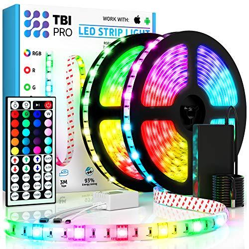 TBI Pro LED Strip Lights 32.8ft - Outdoor RGB Led Strip Lights with Waterproof Color Changing Super-Bright 5050 LED - Flexible Led Rope Lights for Bedroom Kitchen Living Room Bar Desk Home Decoration