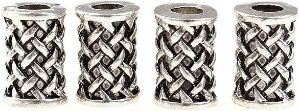 WarmShine 4 Pieces Norse Viking Beads Ancient Silver Knot Hair Beard Pendant Bracelet Antique DIY Bracelet Hair Beards Making (Silver)