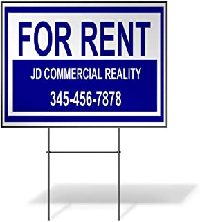 Custom Personalized Yard Sign for Rent Company Name Phone Number Blue Blue Two Sides Print 24inx18in