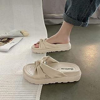 Non Slip Beach Indoor House Shoes, Vrouwen dragen zomer dikke bodem sandalen en slippers, geknoopte strandschoenen-UK3.5_B...