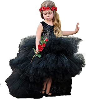 Black Girls Pageant Dresses Sequins Puffy Tulle High Low Prom Birthday Party Dress Toddler 52