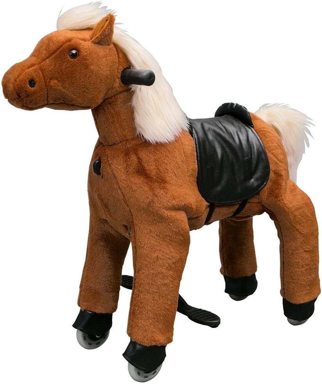 Eurotondisplay Reitpony auf Rollen Rollpferd Reitpferd Spielzeug Plüschpferd fahrendes Pony Small 3-5 Jahre 50cm (Braun S-6 weie Mhne & Schwanz)