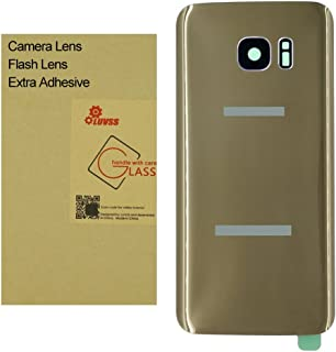 LUVSS Back Glass with [Extra Adhesive] for Samsung Galaxy S7 (All Carriers) Rear Glass Panel Battery Door Cover Housing Replacement with Camera Glass + Flash Lens (Gold)