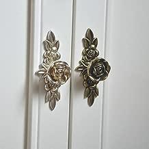2pcs Antique Silver Rose Cabinet Drawer Furniture Door knob Handle Pull Hardware 103mm