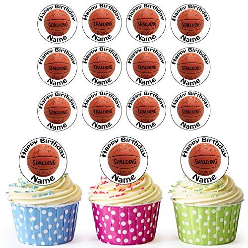 Basketball 24 Personalisierte Essbare Cupcake Aufleger / Geburtstagskuchen Dekorationen – Einfache Vorgeschnittene Kreise