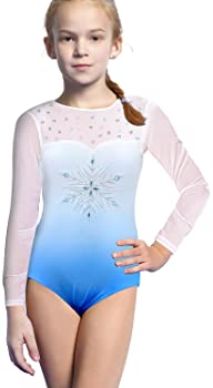 Leotards for Girls Gymnastics Kids Children Biketard Sparkles Ribbon Stripe Hot Pink