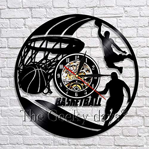 wtnhz LED-Jugar Baloncesto Slam Dunk Arte de Pared Hecho a Mano decoración Reloj Jugador de Baloncesto Disco de Vinilo Reloj de Pared Regalo para fanáticos del Baloncesto