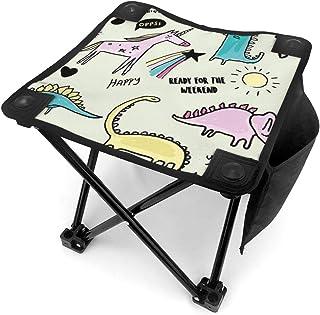 アウトドア 椅子 ユニコーンディノとスターイラストレーション アウトドア 椅子 ピクニック 釣り コンパクト イス 持ち運び キャンプ用軽量 収納バッグ付き 折りたたみチェア レジャー 背もたれなし
