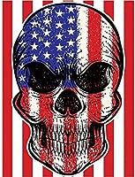 ナンバーキットによるDIY5Dダイヤモンド絵画、装飾用のフルラウンドドリルラウンドラインストーン刺繍写真頭蓋骨付きアメリカ国旗