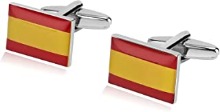 Stainless Steel Cuff Links for Mens Italian/France/Spainish/Nigeria/American/UK Flag in a Gift Box