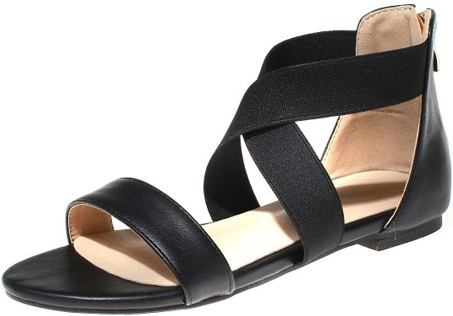 CYBLING Womens Summer Criss Cross Gladiator Open Toe Elastic Ankle Strap Flat Sandals