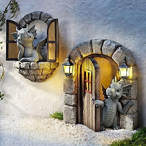 Schöne Hof Drachenskulptur, Drachen dekorative Skulptur Harz Home Decors Garten Ornamente für Garten, Balkon oder Outdoor Harz Handwerk (2PCS)