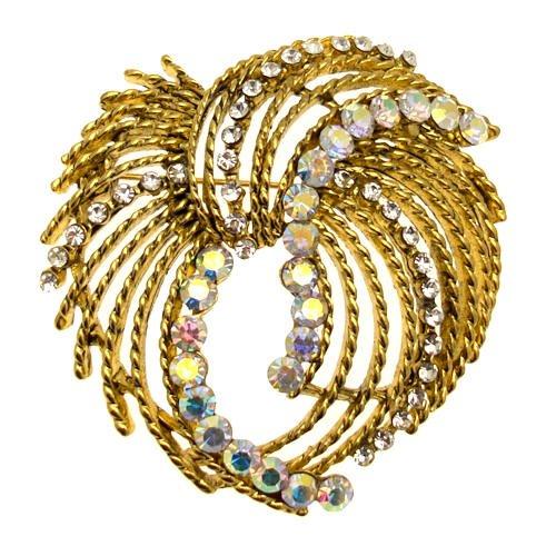 Acosta - oro antiguo y de la vendimia de la trackball - cristal de broche de la joyería...
